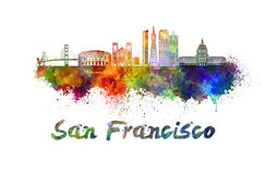 San Francisco skyline in watercolor. Splatters with clipping path Stock Photos