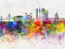 San Francisco skyline in wb. San Francisco skyline in watercolor background vector illustration