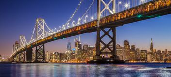Free San Francisco Skyline With Oakland Bay Bridge In Twilight, Calif Stock Photos - 111026433