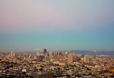 San Francisco skylines at sunset Stock Images