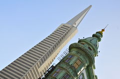 San Francisco Skyscrapers: Transamerica Pyramid and Columbus Tower Royalty Free Stock Images