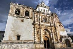 San Francisco Spanish Catholic Church Building Exterior Facade Antigua Guatemala. Iglesia San Francisco el Grande Spanish Catholic Church Building Exterior in royalty free stock images