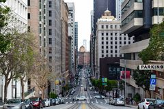 San Francisco Street with Bay Bridge stock photos