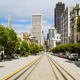 San Francisco street with cable car tracks Royalty Free Stock Photos