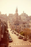 San Francisco street at dusk Royalty Free Stock Images