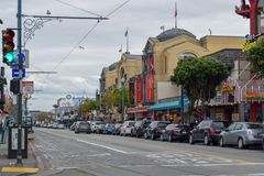 San Francisco Street in Fisherman`s Wharf District royalty free stock image