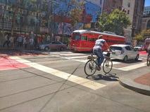San Francisco Street. Traffic along a San Francisco street intersection royalty free stock photos