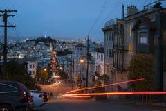 San Francisco Streets bij nacht Royalty-vrije Stock Foto's