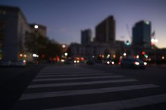San Francisco streets with blurred background at night Stock Photos