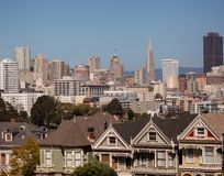 San Francisco summer view. Overlooking the Painted Ladies the city of San Francisco on a clear blue summer's day Royalty Free Stock Photos