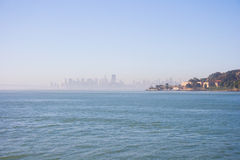 San Francisco on sunny day. View on San Francisco city center and Angel Island. California, USA royalty free stock images