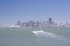 San Francisco on sunny day. View on San Francisco city center from Alcatraz island. California, USA stock image