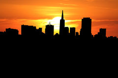 San Francisco at sunset. San Francisco skyline with close up of sunset Stock Photography