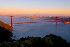 San Francisco at sunset royalty free stock photography