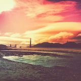 San Francisco Sunset. The Golden Gate Bridge at Sunset. Taken from the beach at Crissy Field Stock Image