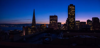 San Francisco Sunset. Photo taken of San Francisco skyline just after sunset royalty free stock image