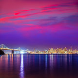 San Francisco sunset skyline California bay water reflection Stock Image