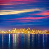 San Francisco sunset skyline California bay water reflection Royalty Free Stock Photo