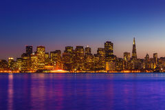 San Francisco sunset skyline California bay water reflection Royalty Free Stock Photos
