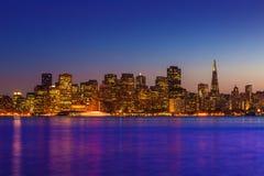 San Francisco sunset skyline California bay water reflection Royalty Free Stock Photos