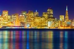 San Francisco sunset skyline California bay water reflection Royalty Free Stock Images