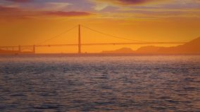 San Francisco sunset skyline in California with reflection in bay water stock video footage