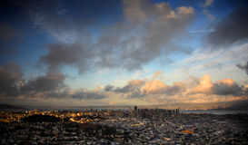 San Francisco Sunset, Spectaculaire Wolken stock foto's