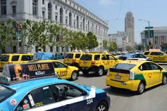San Francisco Taxi Cab Protest. San Francisco taxi drivers protest internet ride sharing companies Royalty Free Stock Image