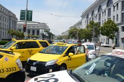 San Francisco Taxi Cab Protest. San Francisco taxi drivers protest internet ride sharing companies Stock Images