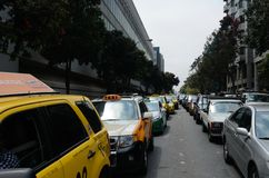 San Francisco Taxi Cab Protest. San Francisco taxi drivers protest internet ride sharing companies Stock Photography