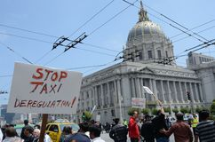 San Francisco Taxi Cab Protest. San Francisco taxi drivers protest internet ride sharing companies Stock Photo