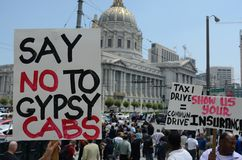 San Francisco Taxi Cab Protest. San Francisco taxi drivers protest internet ride sharing companies Stock Image