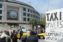 San Francisco Taxi Cab Protest. San Francisco taxi drivers protest internet ride sharing companies Royalty Free Stock Images