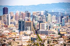 San Francisco Tilt Shift. San Francisco in Tilt Shift Photography. San Francisco California Panorama Stock Photos