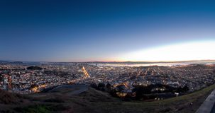 Urban Sunrise. A San Francisco Time Lapse from Twin Peaks stock footage