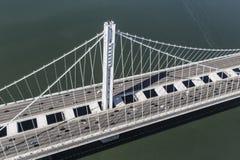 San Francisco to Oakland Bay Bridge Aerial View Royalty Free Stock Images