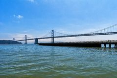 San Francisco to Oakland bridge royalty free stock photography