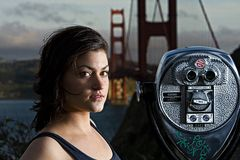 San Francisco Tourist. A woman at the base of the Golden Gate Bridge in San Francisco Royalty Free Stock Photo