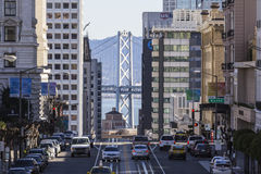 San Francisco Towers and Bay Bridge Royalty Free Stock Photography