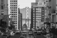 San Francisco Towers and Bay Bridge Black and White Stock Photo