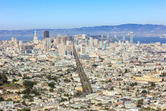 San Francisco town view from twin peaks. Royalty Free Stock Photo