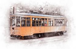 San Francisco tram, California - USA. A typical Victorian style tram in San Francisco stock photography