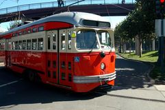 San Francisco Trolley. A train trolley traveling the streets of San Francisco stock image