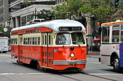 San Francisco trolley. Street of San Francisco Downtown with historic trolley Stock Images