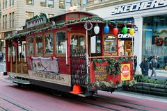 San Francisco, United states - Cable Car Tram Powell-Hyde is famous tourist attraction royalty free stock images