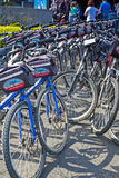 "San-Francisco-United States, July 13, 2014: Line of Plenty Publi. C Bicycles for Leisure Activities Outdoors 'Blazing Saddles"" in San-Francisco on July 13 stock images"