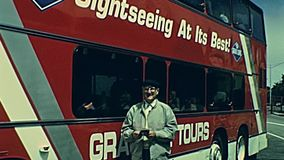 Sightseeing Tour San Francisco. San Francisco, United States - 1980: Sightseeing bus Grey Line Tour, the popular double-decker red bus carrying tourists for ride stock video footage