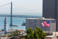 San Francisco USA American Flag Bay Bridge and Clock tower Royalty Free Stock Photos