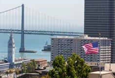 San Francisco USA American Flag Bay Bridge and Clock tower Royalty Free Stock Photos