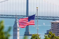 San Francisco USA American Flag Bay Bridge and Clock tower Stock Photos